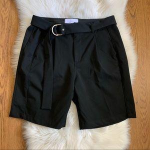 Stampd Black Pleated belted Back Pockets Shorts 32